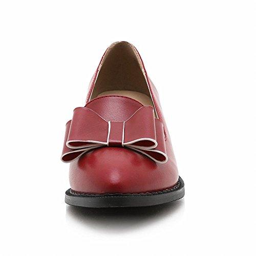 Carolbar Womens Bows Retro Chic Vintage Scarpe A Punta Rosse Pompe Rosso Intenso