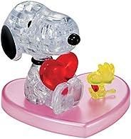 Bepuzzled Rompecabezas de Cristal 3D – Snoopy Loves Woodstock Heart Official Peanuts Puzzle Gran Regalo para e