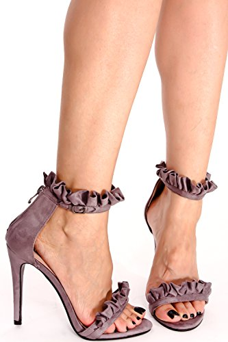 LOLLI COUTURE SUEDE OPEN TOE RUFFLED ACCENT BACK ZIPPER SINGLE SOLE HIGH HEEL Lgreyvvsuede KMvWvkU7V4