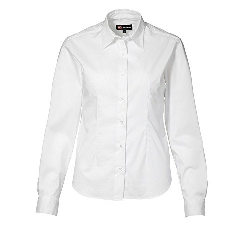 ID - Camisa elástica de manga larga ajustado medio modelo Stretch para mujer señora Blanco