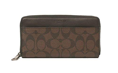 (COACH ACCORDION SIGNATURE ZIP ROUND WALLET (MAHOGANY/BROWN))