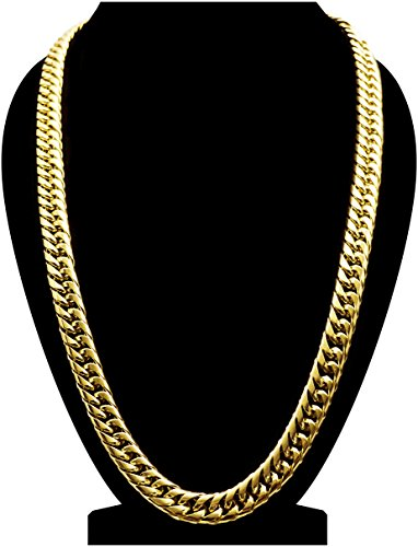 Thick 18k Gold Plated Cuban Link Chain For Men XL Gift Case