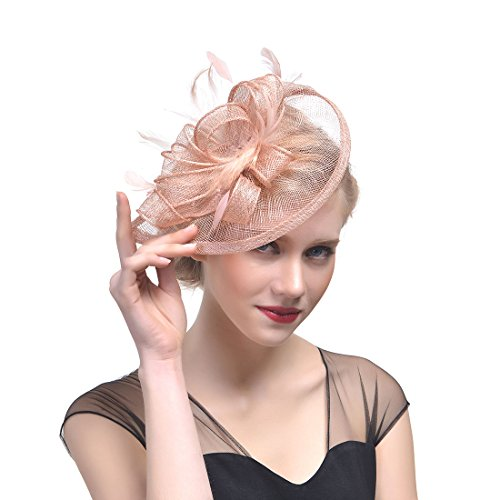 FeiYu Crafts Penny Mesh Hat Fascinator with Mesh Ribbons and Shell Pink Feathers (Red England Tea Rose)
