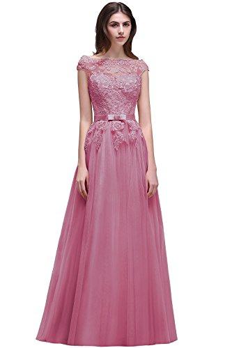 Brautjungfernkleider MisShow Boots Abendkleider Tüll Spitzen Ausschnitt Prinzessin Ballkleider Applique Altrosa Damen Lang vqwgO6v