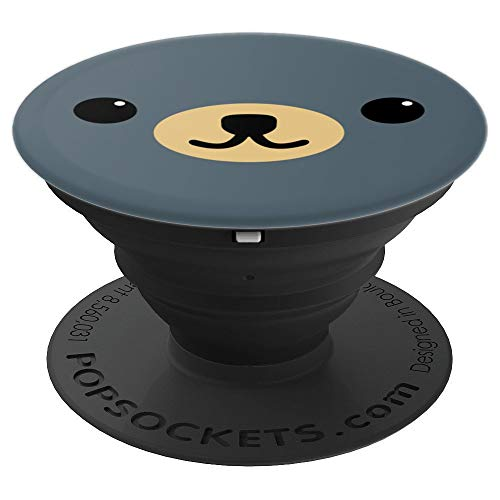 Cute Bear Face Costume Art Funny Halloween Teddy DIY Gift - PopSockets Grip and Stand for Phones and Tablets ()
