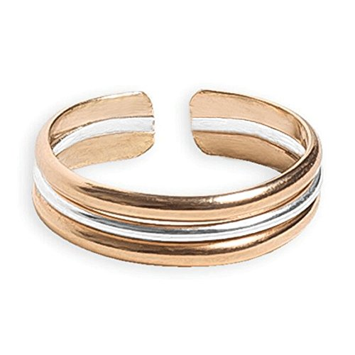 Toe Ring | Triple Stack .925 Sterling Silver & 14K Gold Fill | Adjustable Ring for Foot Or Midi for Women, Girls, Or Men