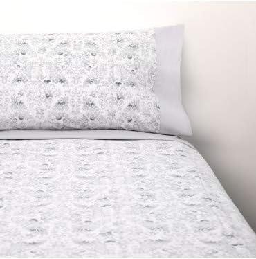 10XDIEZ Juego de sábanas Damasco Gris - Composición - 50% algodón + 50% poliéster: Amazon.es: Hogar