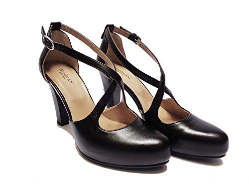 Nero Giardini 5401 Chaussures Femme En Cuir Noir En Crocodile Talon Cm. 8, Num. 38