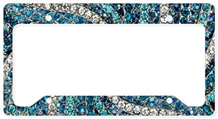Chrome Bohemian Crystal - LilithCroft99 Funny Bohemian Crystal Teal Turquoi License Plate Frame Chrome Metal,Novelty License Plate Cover,Auto License Car Tag Holder, Gifts for Men,for Women,Wife,Husband