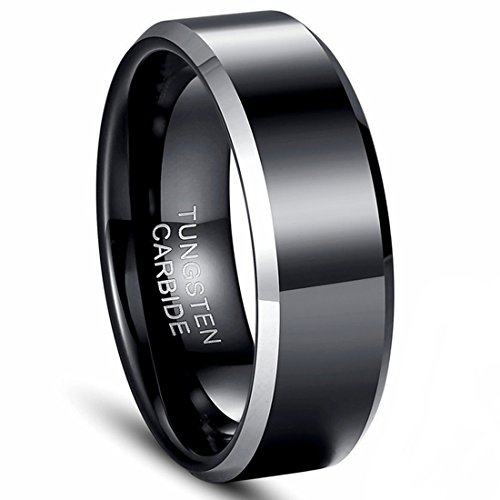 Tungsten Carbide Rings Men\'s 8mm Wedding Band Black and Silver Polished Wedding Engagement Ring -Kiss me (10.5)