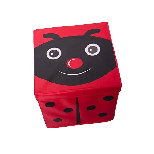 Kidu0027s Cushion Top Ladybug Collapsible Toy Storage Organizer By Clever  Creations | Toy Box Folding Storage