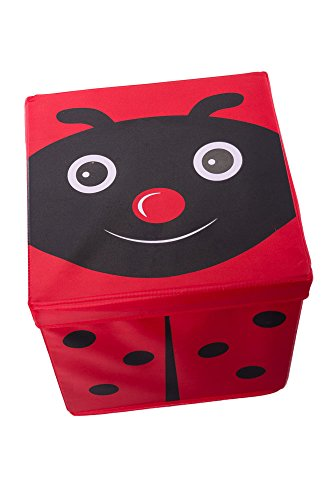 Kid's Cushion Top Ladybug Collapsible Toy Storage Organizer by Clever Creations   Toy Box Folding Storage Ottoman for Kids Bedroom   Perfect Size Toy