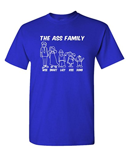 THE ASS FAMILY - dumb smart wise - Mens Cotton T-Shirt, XL, Royal (Wise Ass)