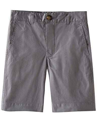 (Spring&Gege Boys' Cotton Twill Flat Front Uniform Stretch Chino Shorts, Silver, 13-14 Years)