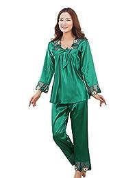 A-wind Women's Satin Artificial Silk Sleepwear