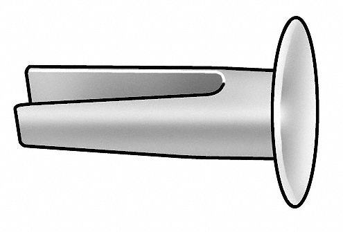 5/16'' Nickel Plated Steel Split Rivet with Truss Head Style, 9/64'' Dia, 0.156'' Hole Size by GRAINGER APPROVED