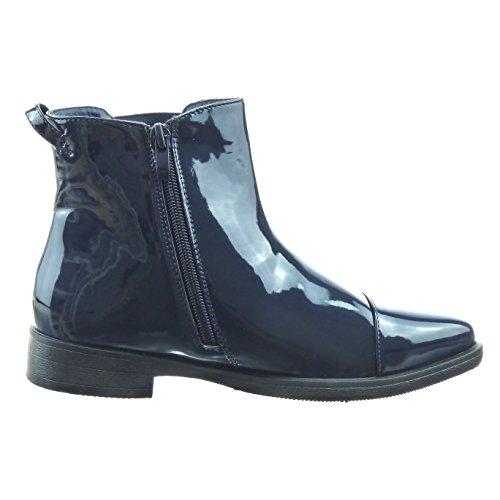 Sopily - Chaussure Mode Bottine chelsea boots montante femmes verni Talon bloc 3 CM - Bleu