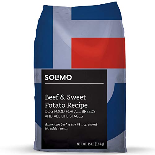 Amazon Brand – Solimo Ultra-Premium Dry Dog Food, No Added Grain,  Beef & Sweet Potato Recipe, 15 lb. Bag