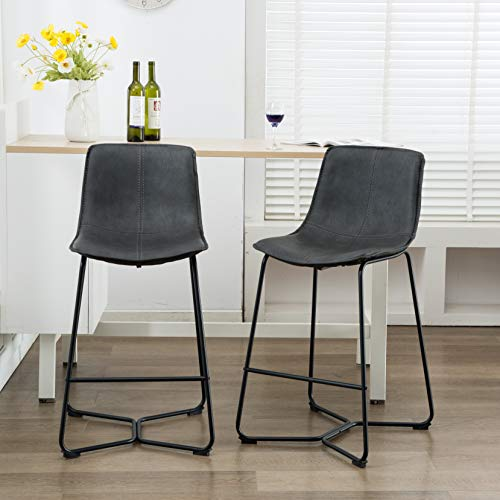 - Atlanta Lance Faux Leather Upholstered with Bucket Seat Barstool Set of 2, Gray