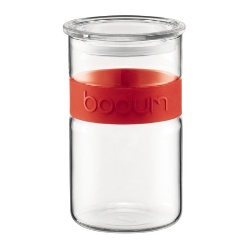 Bodum Presso 34-Ounce  Glass Storage Jar, Red by Bodum