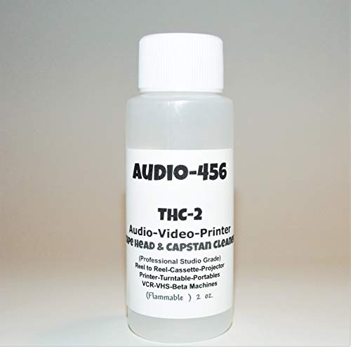 (1) Audio 456 (2 oz) THC-2 Professional Audio/Video Tape Head Capstan Cleaner for Reel to Reel + Cassette Decks +Lasers+Tape Echo + Projectors + Portable & More.(formally SR-Audio)