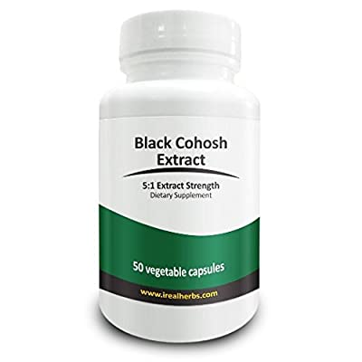 Real Herbs Black Cohosh Extract - Derived from 3,000mg of Black Cohosh with 5 : 1 Extract Strength - Reduces Hot Flashes, Anxiety & Mood Swings, Improves Sleep Quality – 50 Vegetarian Capsules