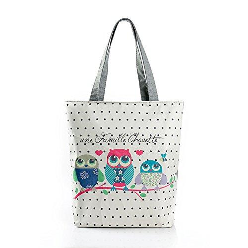Big Handbag Tote (YZSKY Women Nylon Handbag Print Owl Big Tote Bag (three)