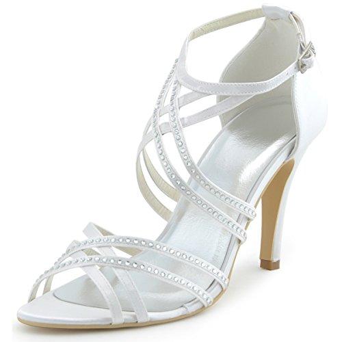 Sparkle Satin Sandals (ElegantPark EP11062 Women's Open Toe High Heel Cross Strap Rhinestones Satin Wedding Bridal Sandals Ivory US 7)