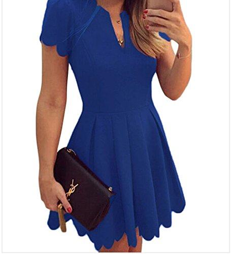 Sweet Pea Wig (YeeATZ Blue Sweet Scallop Pleated Skater Dress(Size,M))