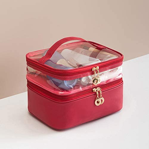 化粧品収納ボックス 多層大容量化粧品収納ボックス透明なポータブルスキンケアブラシ収納ボックスプラスチック素材 XLSM (Color : Red)
