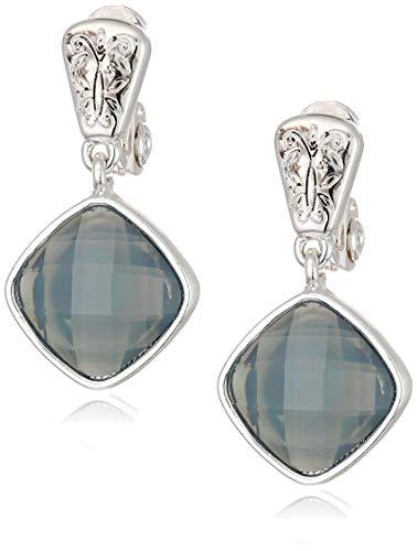 (Napier Women's Silver/Purple EZ Comfort Clip Double Dop Earrings)