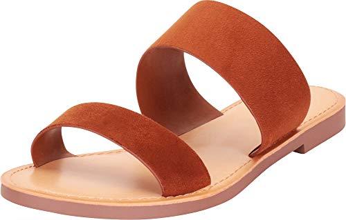 (Cambridge Select Women's Classic Two-Strap Slip-On Flat Slide Sandal,8 B(M) US,Hazel IMSU)