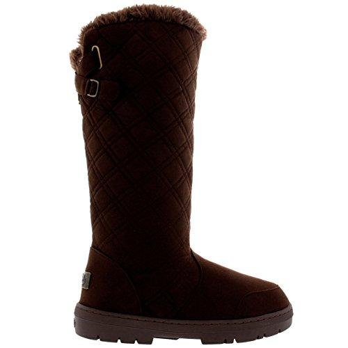 Holly Womens gesteppte Twin Strap zurück hohe Schnalle Winter Snow Rain Boots Braun