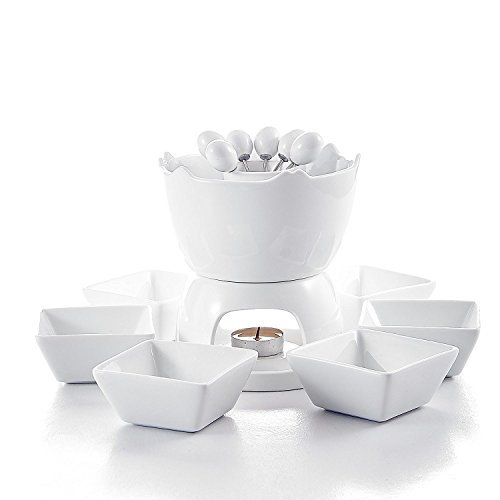 Malacasa Series Favor, Two-layer Ceramic Porcelain Tealight Candle Cheese Butter Chocolate Fondue Set with 6 Dipping Bowls 6 Forks, Ivory White by Malacasa