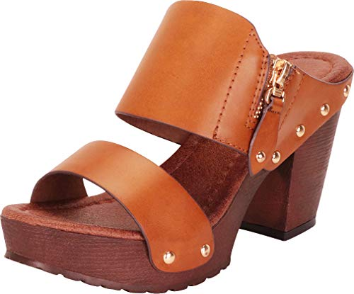 Cambridge Select Women's Retro 70s Studded Clog Chunky Platform Block Heel Slide Sandal,7.5 B(M) US,Tan PU