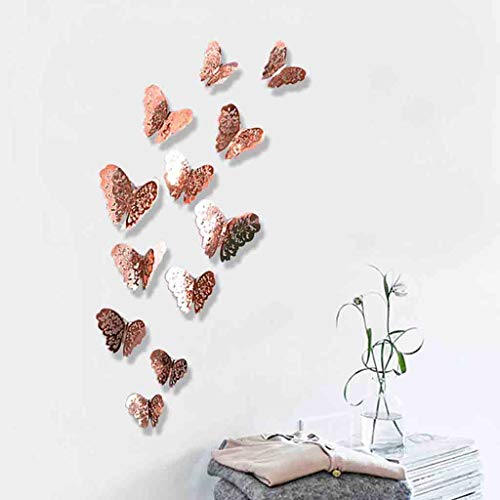 Iusun Wall Stickers Butterfly Silver Mirror 12PCS Wall Paper Removable Self-Adhesive Art Mural for Bedroom Living Room Restaurant Kids Nursery Kindergarten Mall Decoration (A)]()