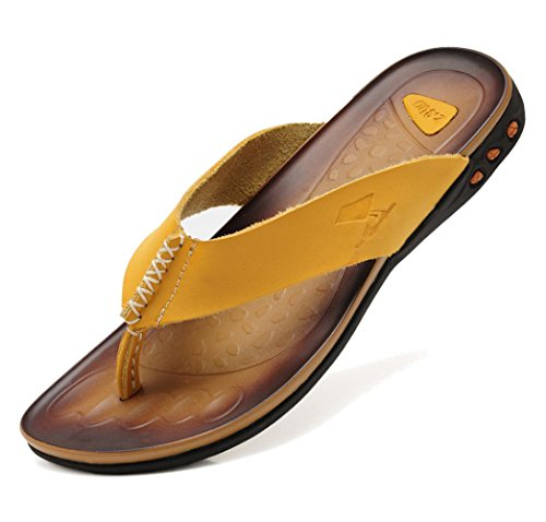 Mens Beach DQQ Flip Leather Sandal Flop Thong Mens Yellow DQQ 7Iqrqw6E