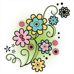 (Imaginisce Flower Swirls Stamp)