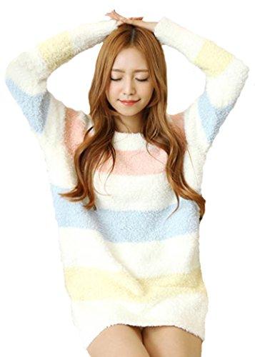 [LUCE miraco] Womens Nightgown Comfort Cotton Sexy Sleepwear Pajamas Nightdress (Pink&Blue&Yellow)