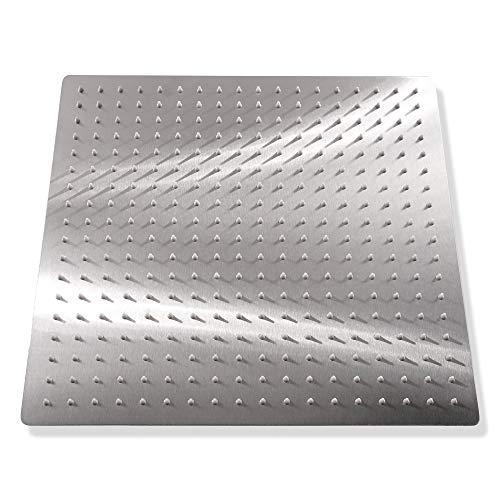KiaRog 16-inch Brushed Shower head. Solid Square Ultra Thin Rainfall Shower Head. Stainless Steel Showerhead -