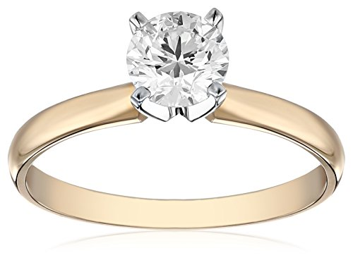 (IGI Certified 14k Yellow Gold Classic Round-Cut Diamond Engagement Ring (3/4 carat, H-I Color, SI1-SI2 Clarity), Size 8)