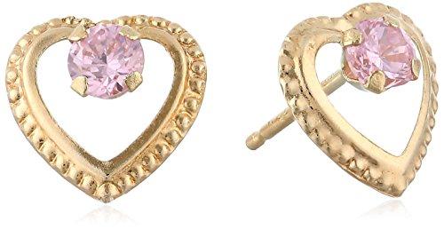 Heart 14k Beaded (Disney 14k Beaded Heart Pink Earrings)