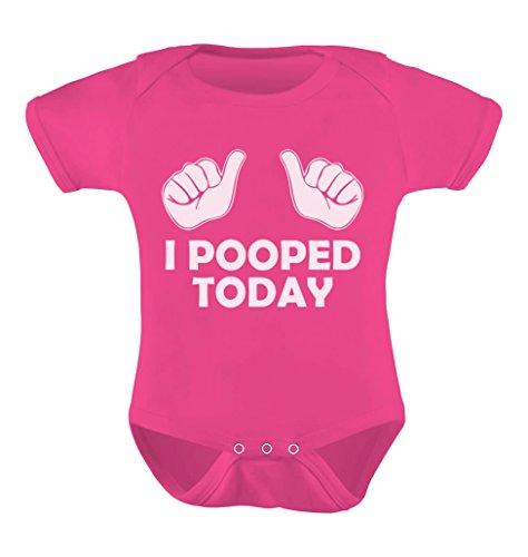 Tstars Unisex- I Pooped Today Baby Bodysuit Newborn Wow Pink (One Piece Replica)