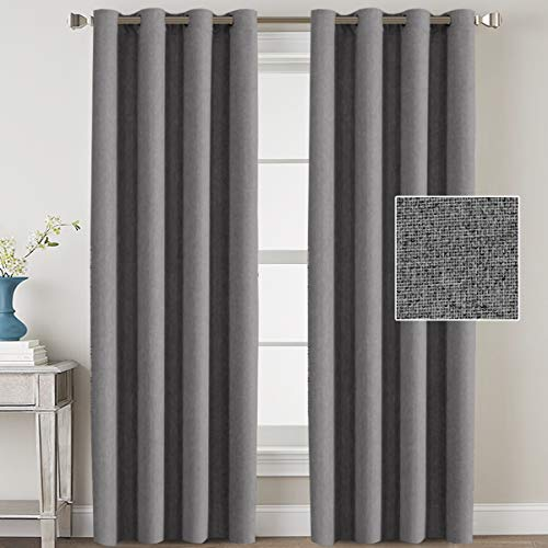 H.VERSAILTEX Linen Blackout Curtains 108 Inches Long Room Darkening Heavy Duty Burlap Efffect Textured Linen Curtains/Draperies/Drapes for Living Room Bedroom - Grey (2 Panels) (108 Inch Curtains Wide)