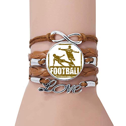 (DIYthinker Brown Football Player Slide Tackle Bracelet Love Twisted Leather Rope Wristband Jewelry)