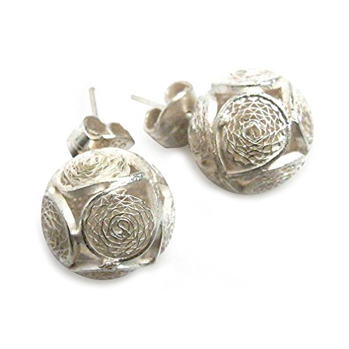 NOVICA .925 Sterling Silver Filigree Button Earrings 'Ball of Lace' (Traditions In Peru Christmas)