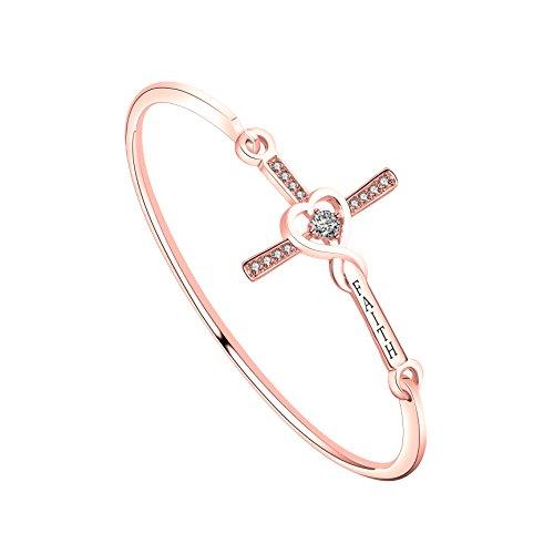 WUSUANED Infinity Love Heart God Cross with Faith Inscription Christian Bracelet Religious Gift for Women Girls (Faith Cross Bracelet RG)