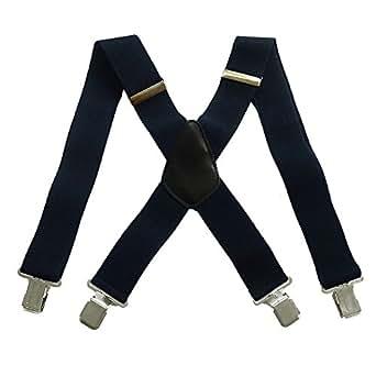50mm Extra Wide Adjustable Elastic Mens Suspenders Clip On Braces Trouser (Navy)