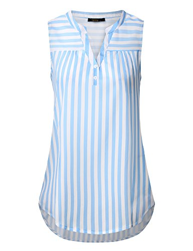 Vafoly Casual Tank Tops, Women Flattering Sleeveless Pleated Front Flowy Henley V Neck Tunic Tanks Tops Blouse Blue and White (Blue White Check Shirt)