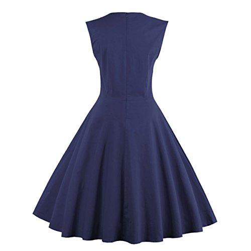 Retro L Blau Vintage EU Kleid DISSA Rockabilly Cocktail 50er Damen M1336 40 SqOBwOgZ